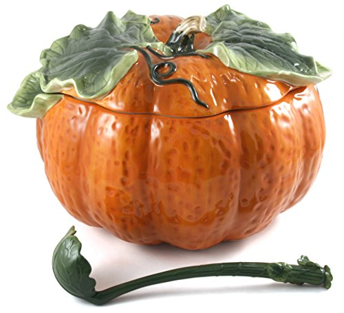 Extra Large Ceramic Pumpkin Soup Tureen & Ladle Set