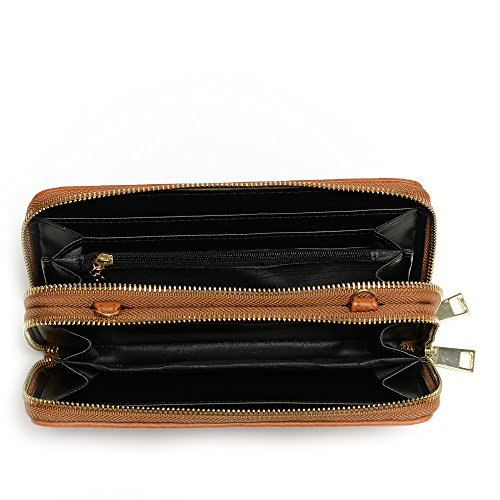 Double Multi Around Purse Brown Strap Crossbody Zip Organizer Wallet purpose with aanRqOwS
