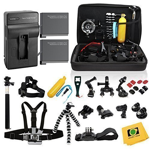 CDE© Complete Kit for GoPro Hero4 Black or silver: 2 Batteries, Charger + 30pcs accessories Kit. Outdoors Bundle for Hero 4: 2 batteries +Charger +Head & Chest Straps +Grip +Tripod +Suction Cup &More by CDE