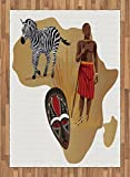 Safari Area Rug by Lunarable, Africa Map and Tribal Ethnic Cultural Symbols with a Native Local Man Art Work Print, Flat Woven Accent Rug for Living Room Bedroom Dining Room, 5.2 x 7.5 FT, Multicolor