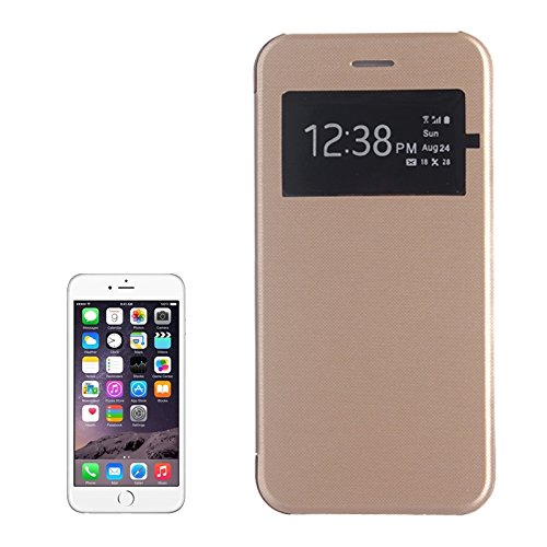 Phone Taschen & Schalen Für iPhone 6 Plus & 6S Plus, Horizontale Flip Leder Tasche mit Call Display ID ( Color : Gold )