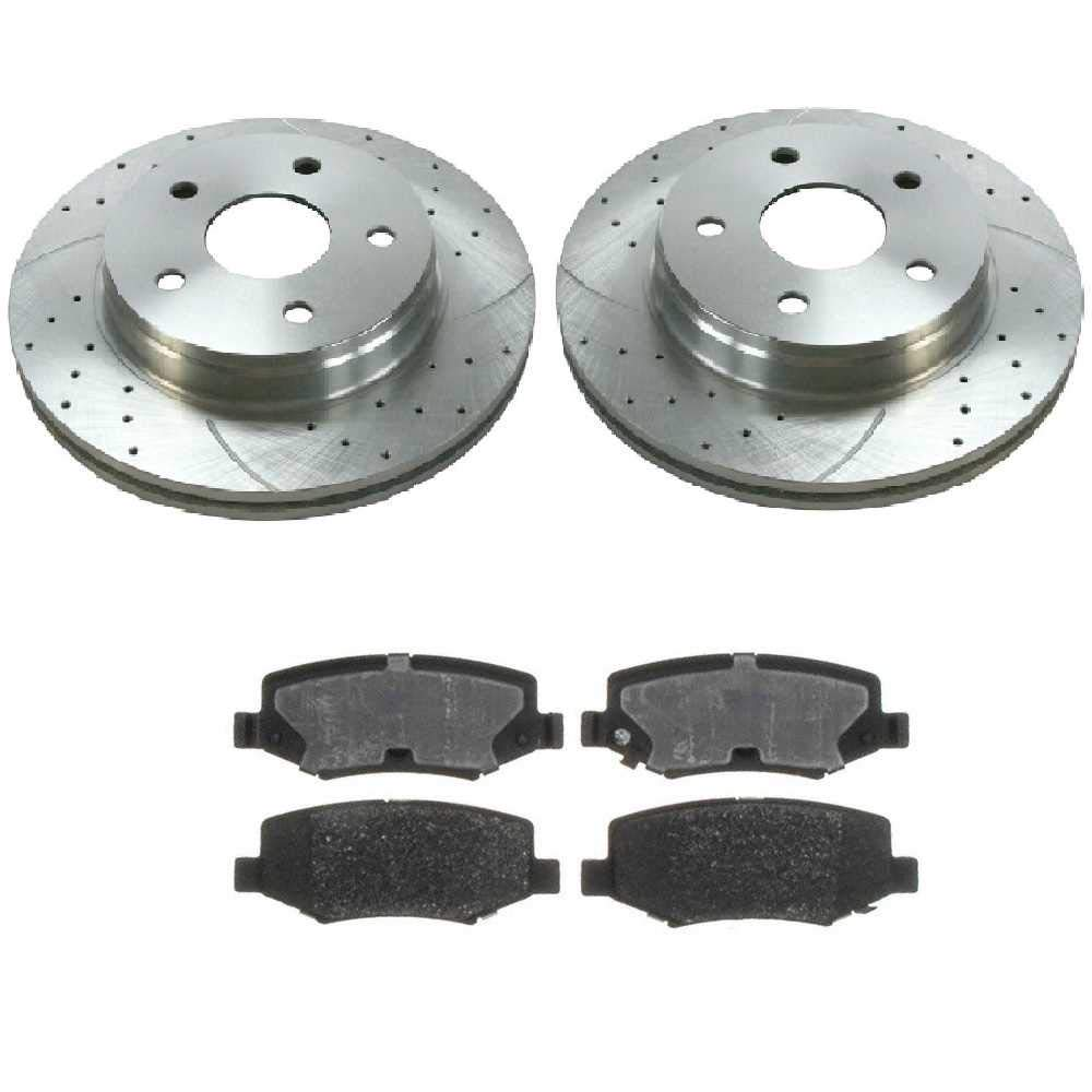 Prime Choice Auto Parts BRKPKG002876 Rear Silver Zinc Drilled Slotted Rotors with Ceramic Pads Set