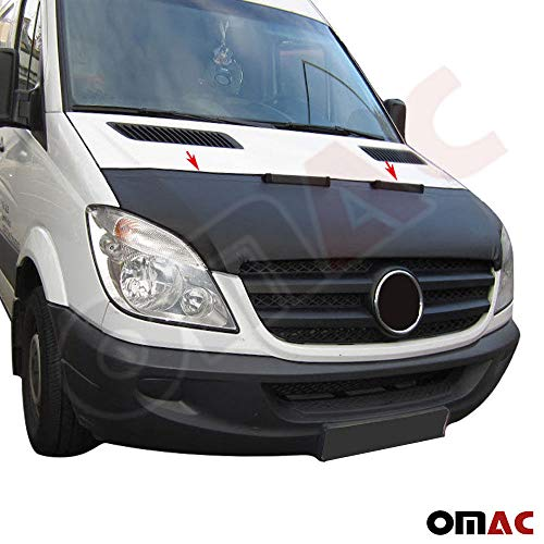 OMAC USA Front Hood Cover Mask Black Vinly Bonnet Bra (Half) Stoneguard Protector for Mercedes Benz Sprinter W906 2006-2013