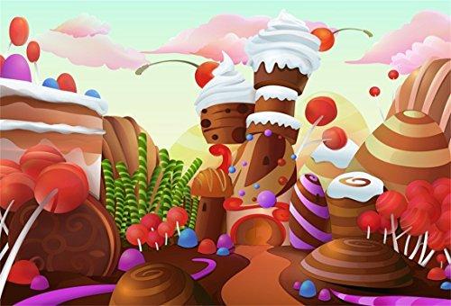CSFOTO 7x5ft Cartoon Dessert World Background Candy Landscape Photography Backdrop Dessert House Ice Cream Chocolate Cake Lollipop Birthday Party Decoration Kid Newborn Photo Studio Props Wallpaper