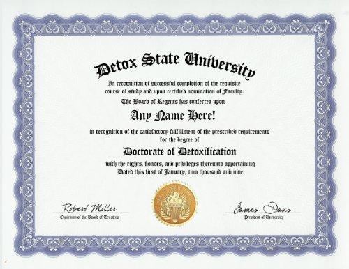 Detoxification Detox Degree: Custom Gag Diploma Doctorate Certificate (Funny Customized Joke Gift - Novelty Item)