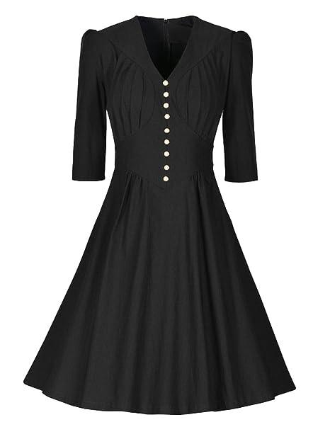 Las Mujeres 50s Vestidos Vintage Retro Rockabilly Vestidos Largos Elegantes con 3/4 Marga vestido de fiesta de noche: Amazon.es: Ropa y accesorios
