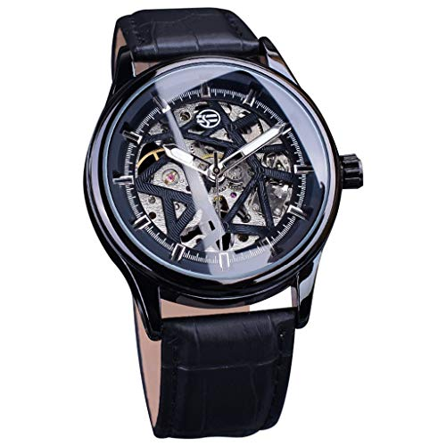 - LUCAMORE Wristwatch Men's Automatic Mechanical Skeleton Watches Waterproof Leather Luxury Business Watch