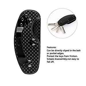 Compact Smart Key Holder Keychain, Carbon Fiber & Aluminum Pocket Organizer For Cabinets Desk, Tactical Mini EDC Gear Folder With Hook For Everyday Carry, Knife Blade Clip Multiuse Tool For Door
