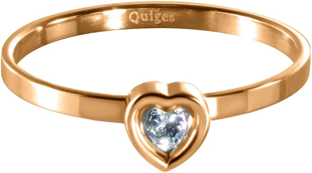 Quiges Stainless Steel Single White CZ Heart Rose Gold Band Inner Ring 2mm Height for Stackable Ring
