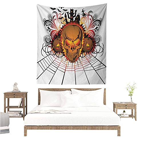 Halloween Decorative Tapestry Angry Skull Face on Bonfire Spirits of Other World Concept Bats Spider Web Design Home Decorations for Bedroom Dorm Decor 70W x 84L INCH -