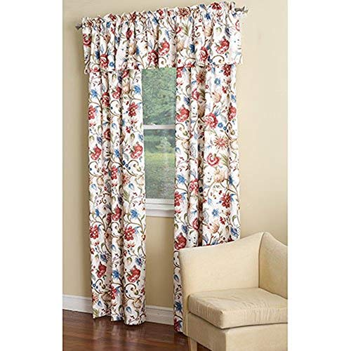 Ellis Curtain Cornwall Jacobean Floral Thermal Insulated Tailored Valance, 80 by 15-Inch, Multicolor ()