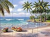 Ceramic Tile Mural - Tropical Bay - by Sung Kim - Kitchen backsplash / Bathroom shower