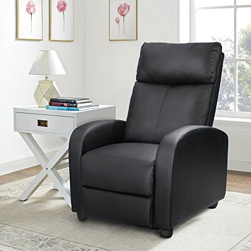 Homall Single Recliner Padded Black PU Leather Living Room Recliner Recliner
