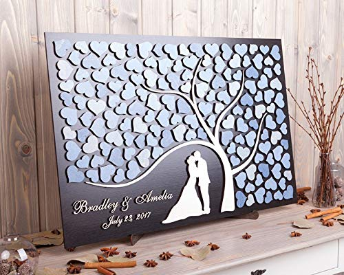 SWQAA Personalized 3D Wedding Guest Book Alternative with Bride and Groom Names]()