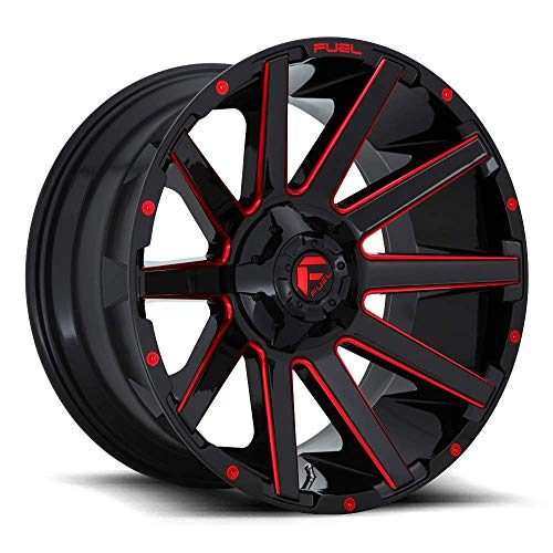 FUEL Off-Road Wheels: Contra (D643) - Gloss Black w/Candy Red; 20x10 Wheel Size, 8x170 Lug Pattern, 125.1mm Hub Bore, 18mm Off ()