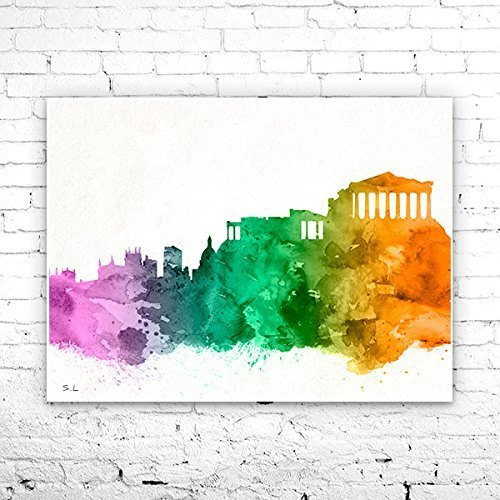 Athens 2 City Skyline, Art Print, big apple poster, Athens poster, print, Athens watercolor,