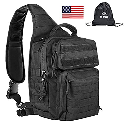 2cl direct Tactical Sling Bag Pack Military Rover Shoulder Tactical Sling Backpack Small Assault Pack Army Molle Bug Out Bag Backpacks + Tactical USA Flag Patch & Storage Sack