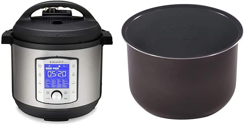 Instant Pot Duo Evo Plus Pressure Cooker 10 in 1, 8 Qt, Easy Grip Handles & Pot Ceramic Non Stick Interior Coated Inner Cooking Pot 8 Quart