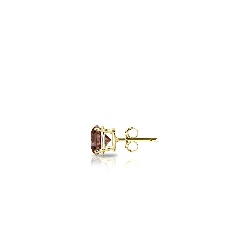 14k Yellow Gold 4-Prong Basket Round Brown Diamond SINGLE STUD Earring 1//8 cttw, Brown, SI1-SI2