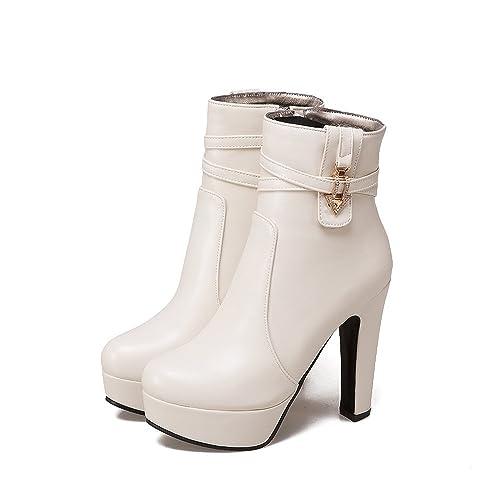Qin&X Bloque de Mujer Tacones Botines de Puntera Redonda Zapatos con Plataforma: Amazon.es: Zapatos y complementos