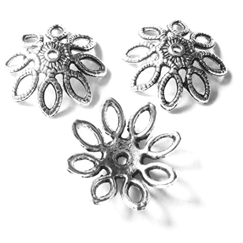 Heather's cf 50 Pieces Silver Tone Hollow Petal Beads Caps Findings Fit 20mm Round Beads Jewelry Making 20mm