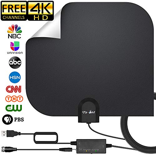 [2019 Upgraded] HDTV Antenna,HD Digital Indoor TV Antenna Version, 140+ Miles Range HDTV Antenna with Amplifier Signal Booster, Amplified 17ft Coax Cable