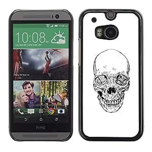 Shell-Star Arte & diseño plástico duro Fundas Cover Cubre Hard Case Cover para HTC One M8 ( Skull White Black Death Metal Tattoo )