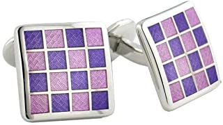 product image for David Donahue Men's Sterling Silver Purple Checkerboard Cufflinks (CL020502)