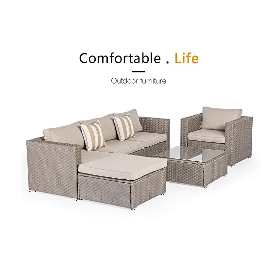 SUNCROWN Furniture Sectional Sofa (7-Piece) Outdoor Set w/Brown Washable Seat Cushions & Modern Glass Coffee Table | Patio Backyard, Pool & Waterproof Cover - COMFORTABLE SOFA SET - This contemporary outdoor sectional sofa comes with enough room to seat 4-6 friends comfortably with a table to hold food and drinks. BEAUTIFUL WICKER STYLE & THICK, COMFORTABLE CUSHIONS - Crafted with high-quality brown resin wicker, this outdoor sofa furniture adds handsome décor to your patio, deck, backyard porch, or even pool. Cushion covers remove with a quick zip and are machine washable! ELEGANT GLASS TABLETOP - The checkered wicker sectional set also features a gorgeous tempered glass top that perfectly highlights your patio or poolside decor. - patio-furniture, patio, conversation-sets - 51mMajBB2hL. SS570  -