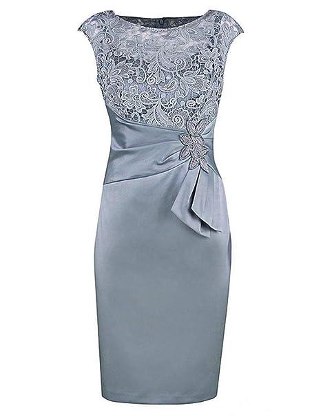 Amazon.com: Kxry - Vestido corto de encaje gris para mujer ...