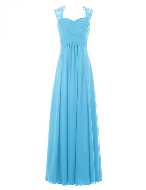 Fanciest Women\'s Cap Sleeve Lace Chiffon Long Bridesmaid Dresses ...