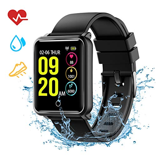 Bluetooth Smart Watch for Android, TopElek IP68 Waterproof Smartwatch, Sport Wrist Watch Fitness Tracker Pedometer Compatible with Samsung Huawei Android iOS for Men Women, Magnetic Suction Charging