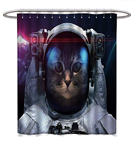Anhuthree Space Cat Shower Curtain Collection by Cosmonaut Kitty in Galaxy Cosmos Nebula Stars with Eclipse Image Satin Fabric Sets Bathroom W69 x L70 Dark Blue Black and White