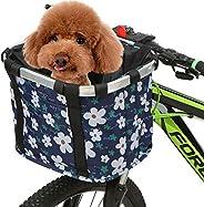 Lixada Bike Basket Folding Pet Cat Dog Carrier Front Removable Bicycle Handlebar Basket,Bicycle Front Basket E
