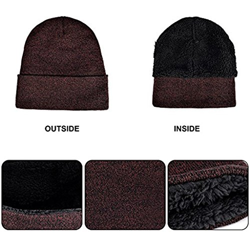 Winter Beanie Hat + Scarf + Touch Screen Gloves, Warm Unisex 3 Pieces Knit Cap Set for Men Women Christmas Gift New Year Gift (Dark Red) by Donsane (Image #3)