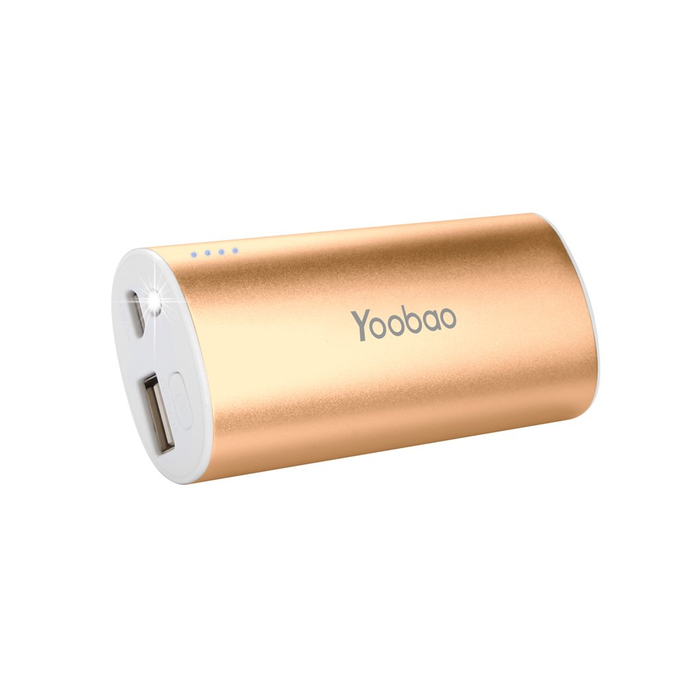 Yoobao 5200mAh Ultra-Compact Power Bank Small Portable Charger Lightweight External Charger Battery Backup Powerbank Phone Charger Compatible iPhone Samsung Galaxy iPad Cell Phones Smartphones - Gold