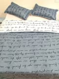 Lt Twin Queen Size 3-pieces White and Grey/gray Love English Words Prints Duvet Cover Sets (Queen, 1 Duvet Cover+2 Pillowcases)