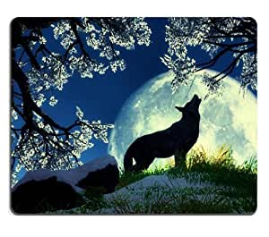Wolf Howling Moon Night Flowers Mouse Pads Customized Made to Order Support Ready 9 7/8 Inch (250mm) X 7 7/8 Inch (200mm) X 1/16 Inch (2mm) High Quality Eco Friendly Cloth with Neoprene Rubber MSD Mouse Pad Desktop Mousepad Laptop Mousepads Comfortable Computer Mouse Mat Cute Gaming Mouse pad