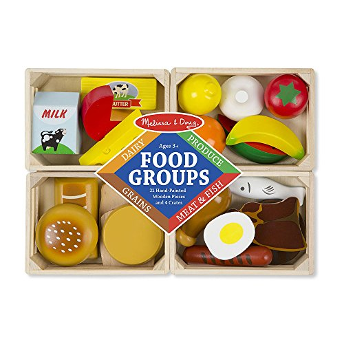 51mMbSx3hXL - Melissa & Doug Food Groups - 21 Hand-Painted Wooden Pieces and 4 Crates
