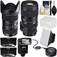 Sigma 18-35mm f/1.8 Art DC HSM Zoom Lens (for Canon EOS Cameras) with 50-100mm f/1.8 Art Lens + USB Dock + Flash + Soft Box + Diffuser + Filters + Kit