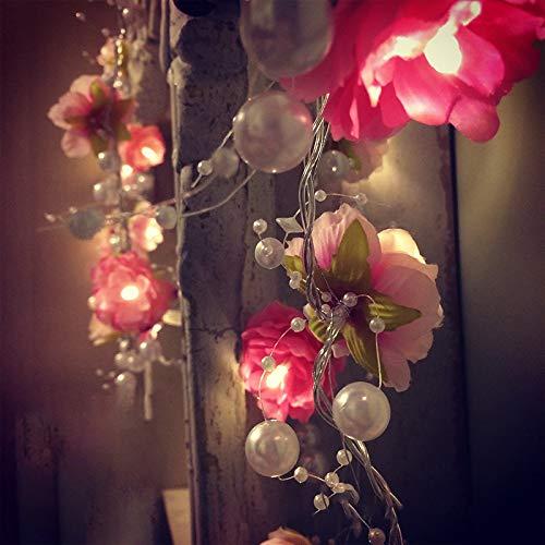 JIA Führte Rosen - Blume mit Dekoration Bead Luces Fee - Schnur ...
