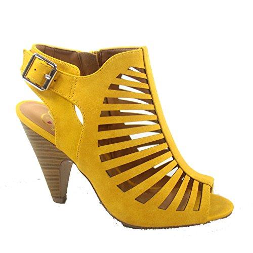 - SODA Shaky-s Women's Sexy Strappy Peep Toe Slingback Buckle Chunky Heel Sandal (5.5 B(M) US, Mustard)
