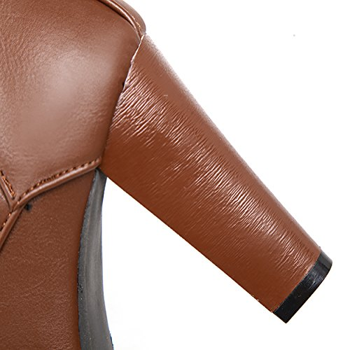 Pictures of Susanny Women's Mid Calf Leather Boots Brown 9.5 M US 1
