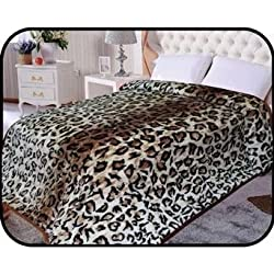 "Animal Leopard skin Blanket, Korean Comfy, Safari Mink blanket, Warm, Comfort, Camping ,Full Queen Bed blanket, 75""Wx90""H . Over Sized Throw blanket, 2Ply blanket. By Hiyoko"