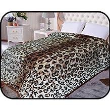"Animal Leopard skin Blanket, Korean Comfy, Safari Mink blanket, Warm, Comfort, Camping ,Full Queen Bed blanket, 75""Wx90""H . Over Sized Throw blanket, 2Ply blanket. By Hiyoko"