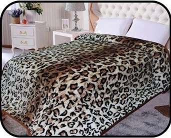 Animal Leopard skin Blanket, Korean Comfy, Safari Mink blanket, Warm, Comfort, Camping ,Full Queen Bed blanket, 75