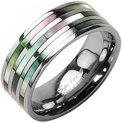 TTNR-0102 Solid Titanium Triple Abalone Inlayed Ring