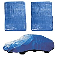 Set of 2 Blue 12' x 16' Poly Tarps Heavy Duty Protective Covers Shelter For Camping Cars