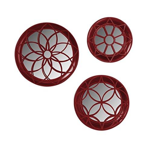 Laurent Geometric Round 3-Piece Metal Accent Mirror Set, - Mirror Round Red