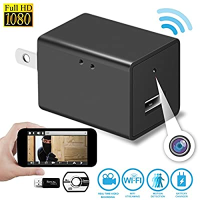 SpyGear-Wireless Hidden Spy Camera- Nanny Cam- Video Recording System With USB Wall Charger Design–1080P HD Home Security Camera-Support iOS Iphone and Android -Wifi Remote Live Viewing and Motion Detection - FESQ1
